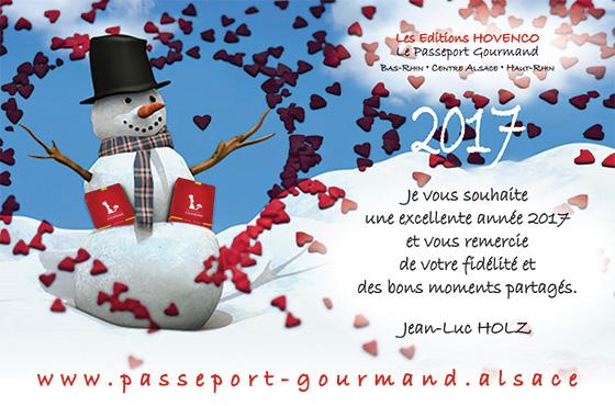 Le Passeport Gourmand vous souhaite une excellente année 2017